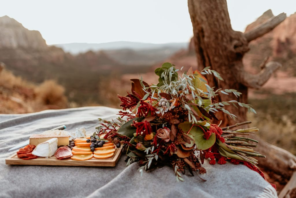 Wild bouquet and picnic chartreuse board to watch the sunset over Sedona