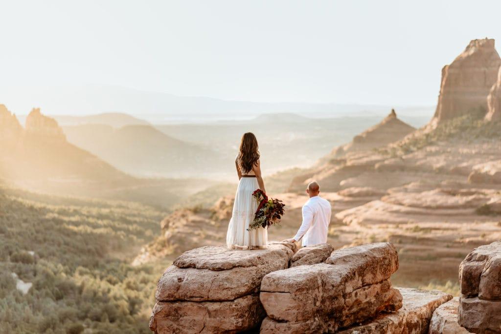 Couple at Merry Go Round Rock wedding in Sedona
