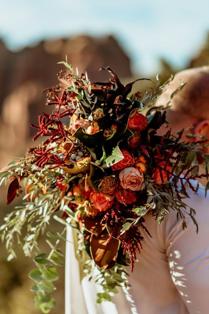 Vibrant wild bouquet by local florist for Sedona elopement