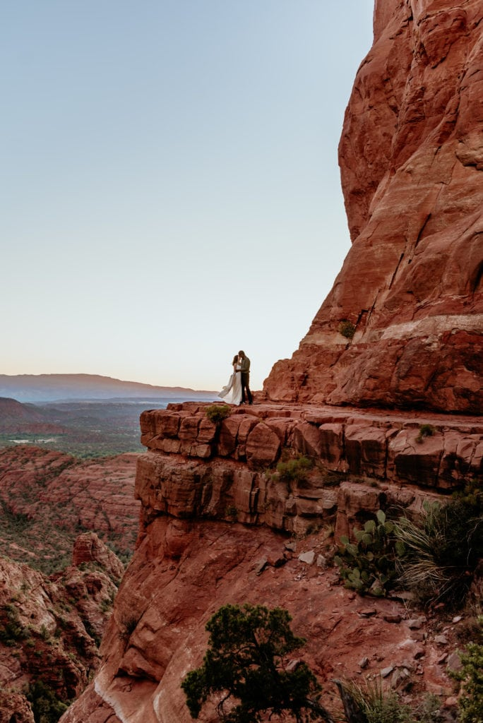 Couple dancing as the sun sets at Cathedrall Rock in Arizona