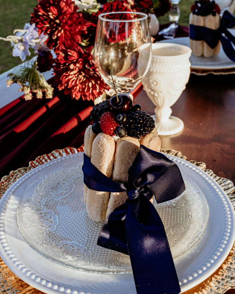 Beautiful and tasty desert prepared for an intimate wedding