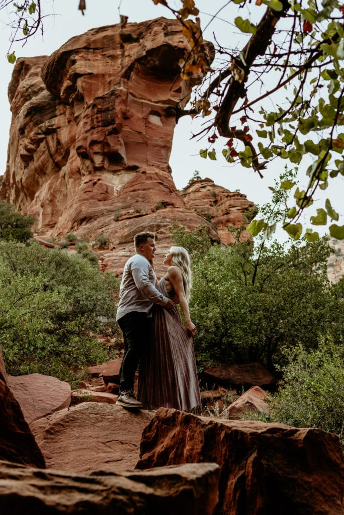 Couple gaze at each other after reading their vows during their Fay Canyon Elopement