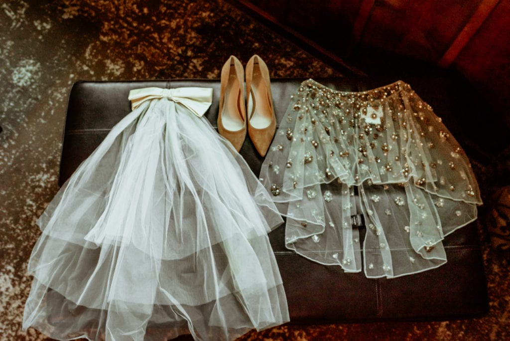 Vintage family veil with suede shoes and BHLDN wrap
