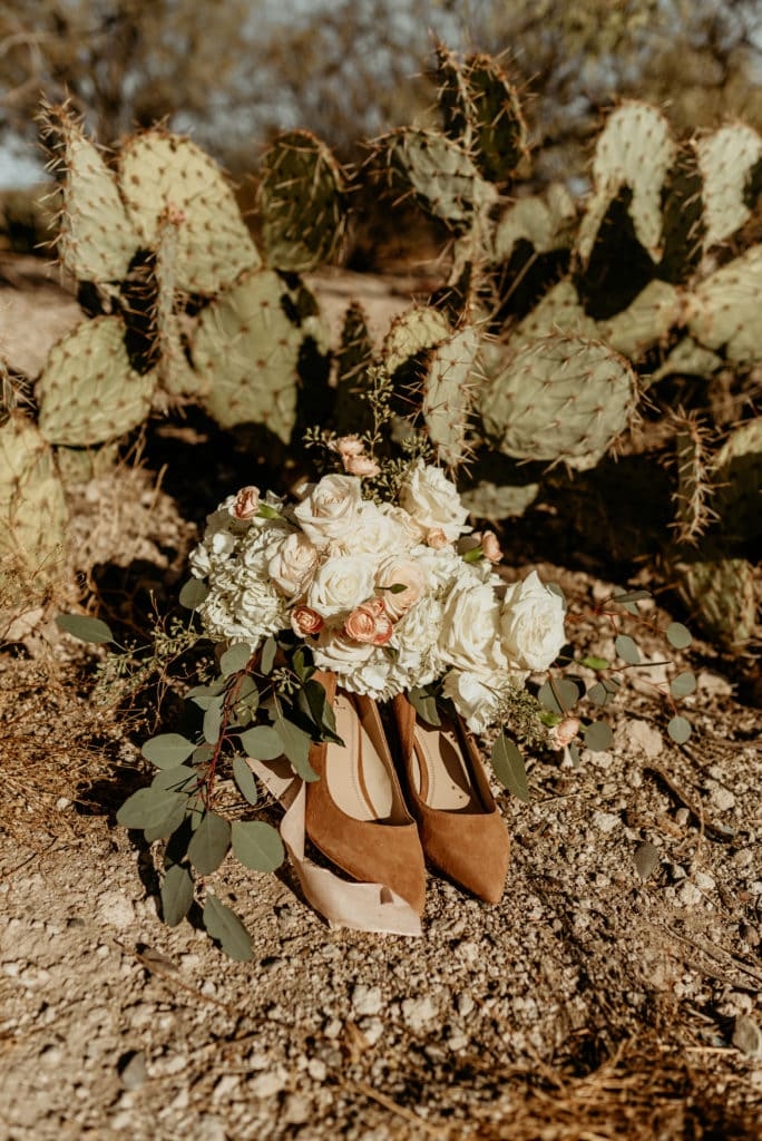 DIY bouquet with tan suede heels and prickly pear cactus
