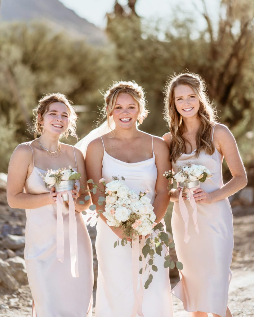 Bride with sister and best friend at her  Wranglers Roost Wedding