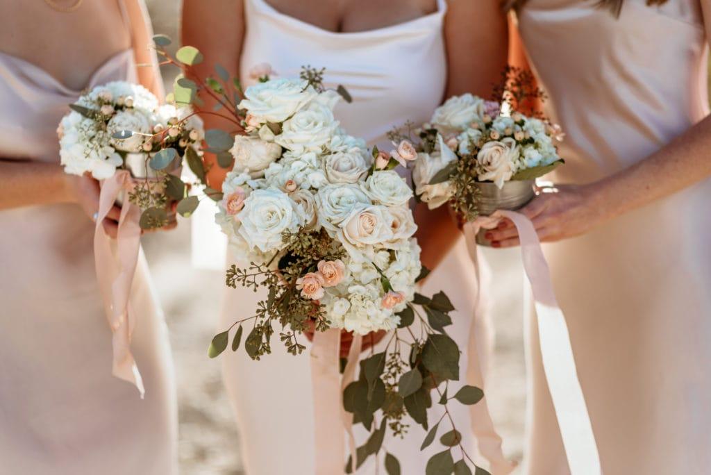 DIY bouquets during Phoenix outdoor wedding