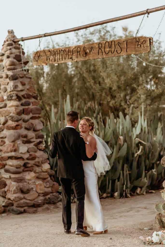 A first dance amongst the cactus gardens of Wranglers Roost