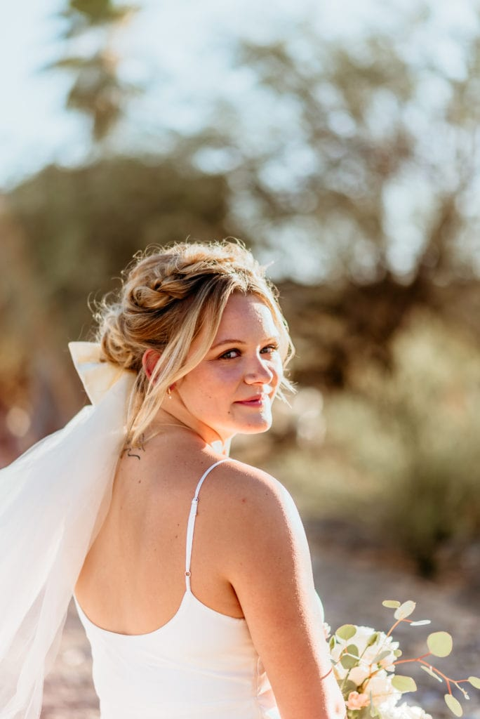 Bride with braids and wedding veil