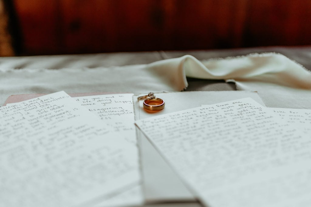 His and hers wedding bands placed on handwritten vows