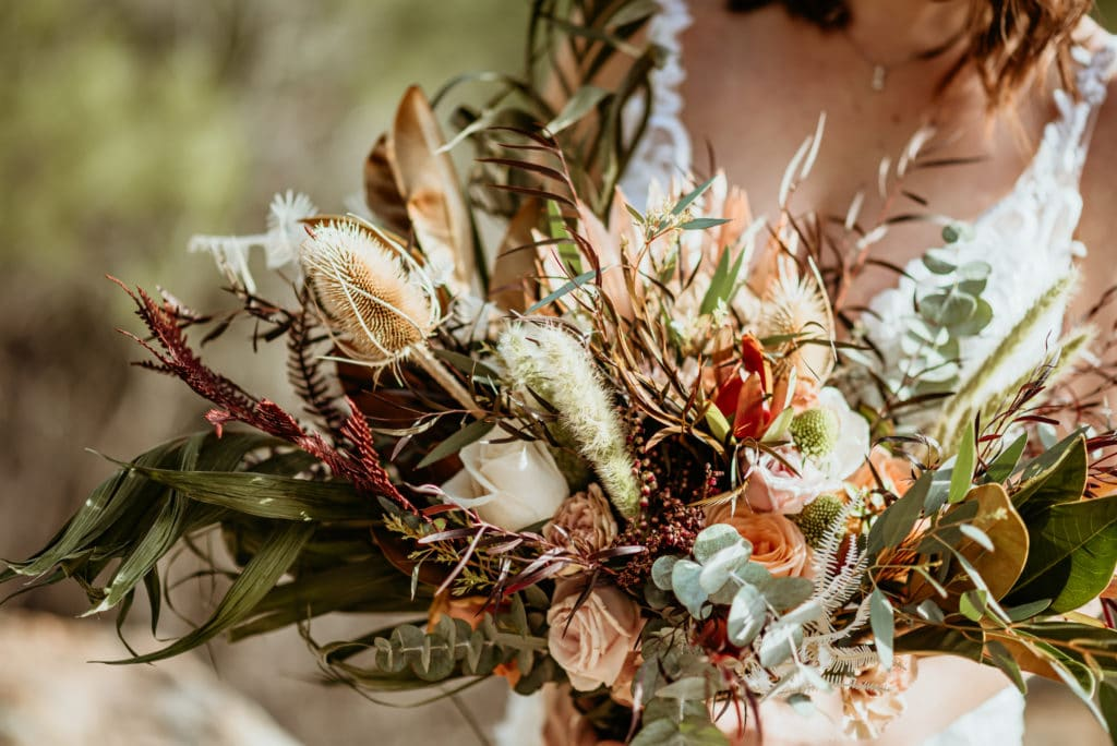 Breathtaking Bohemian wedding bouquet with earthy tones and interesting textures