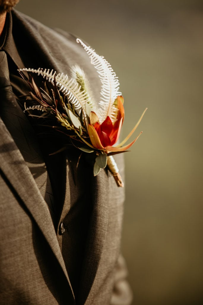 Unique boutonniere with fern like tufts and bright red flower