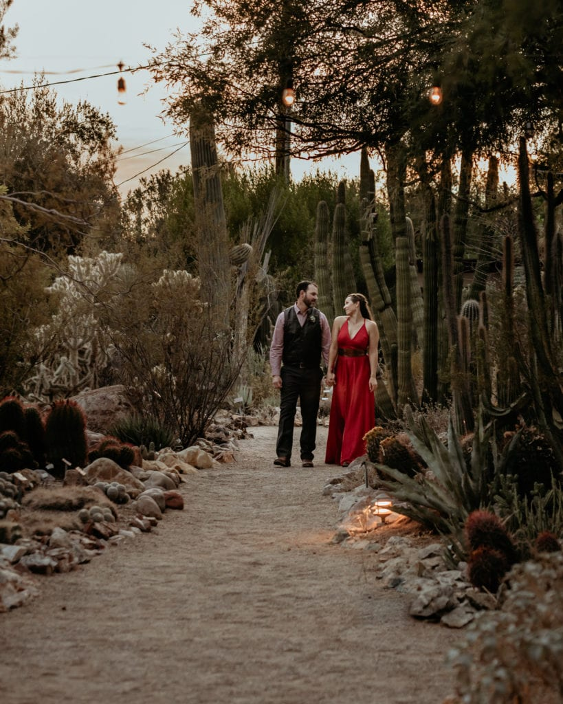 Wedding couple walking down the dirt path surrounded by cacti during their Tucson Botanical Gardens Wedding