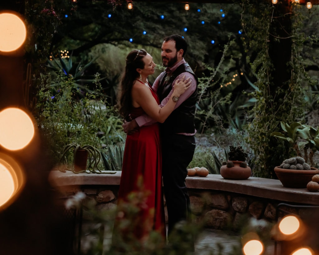 First dance under the magical fairy lights at Tucson Botanical Gardens Wedding ceremony