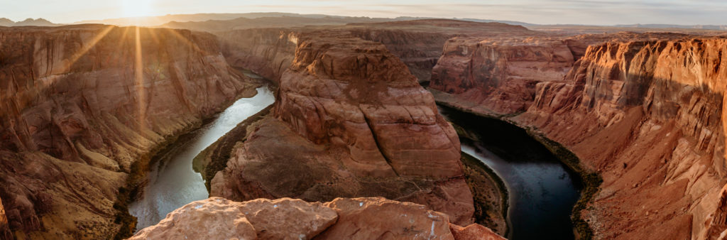 Panorama of Horseshoe Bend at Sunset by Shannon Durazo of Stratus Adventure Photography