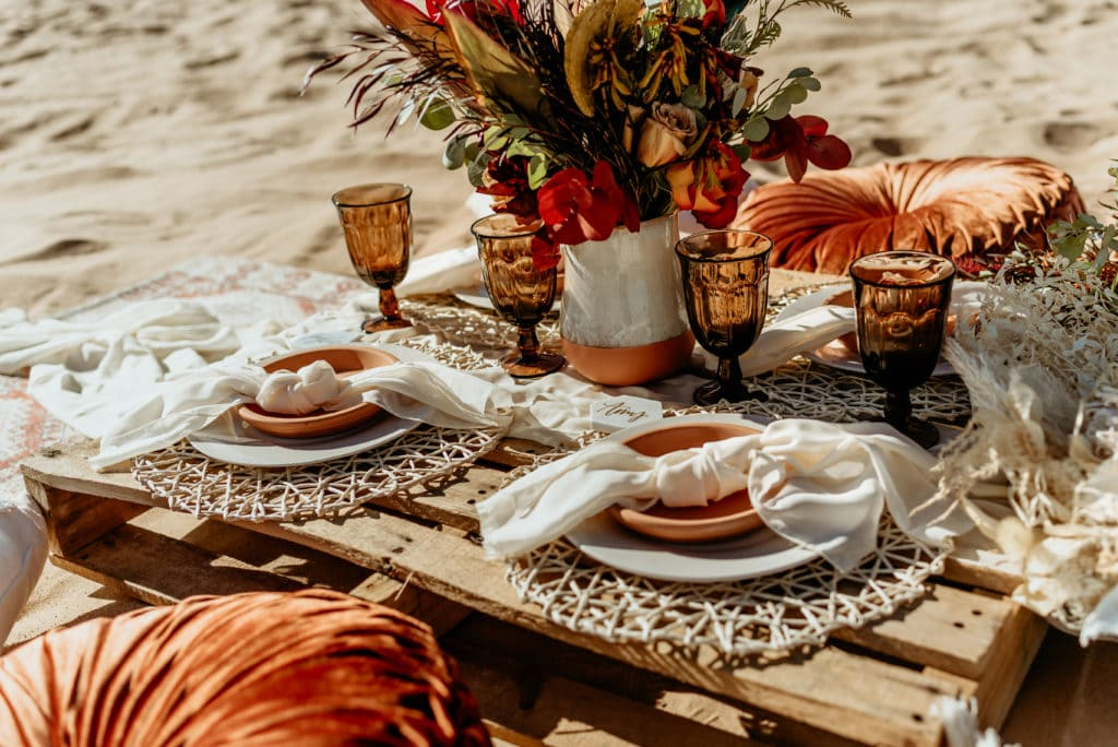 Gorgeous and minimalistic picnic set up for sunset dinner during Glamis elopement