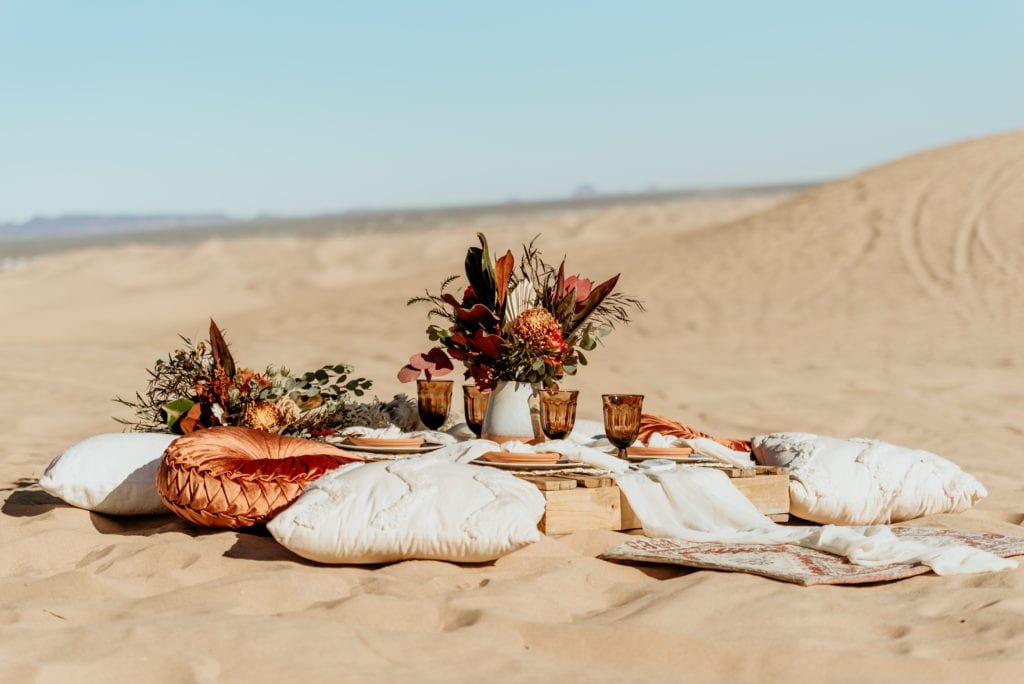 Simple and elegant picnic set up for Sand Dune elopement