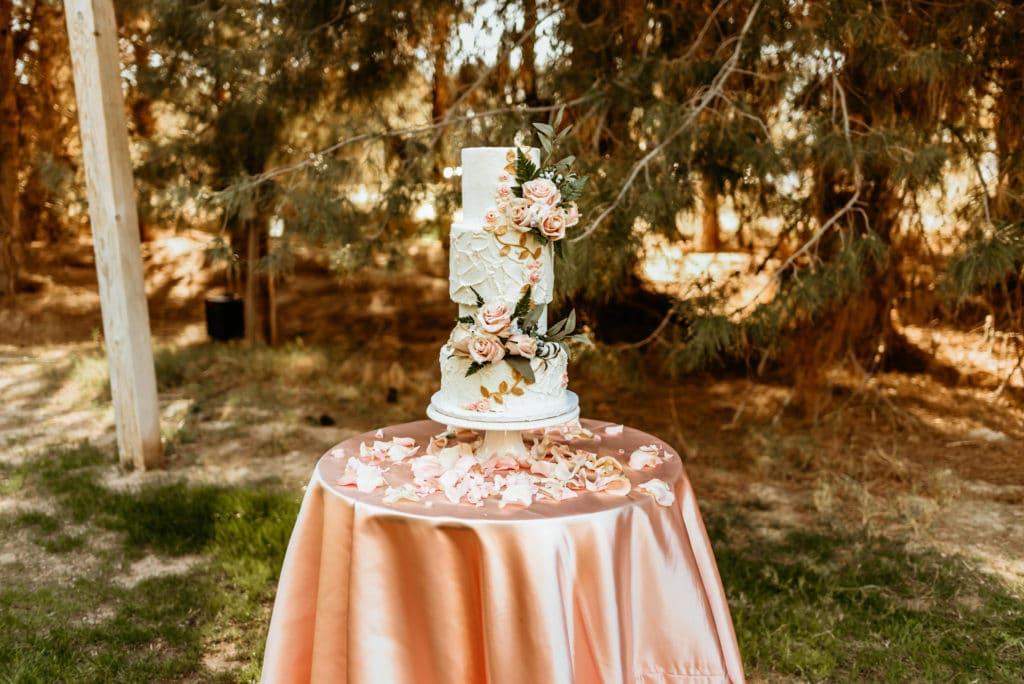 Stunning wedding cake at Schnepf Farms wedding reception