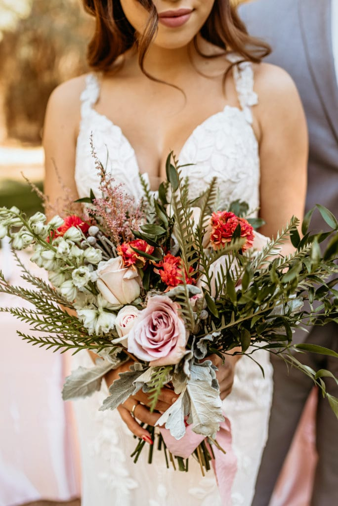 Gorgeous bouquet with bursts of pinks and white texture