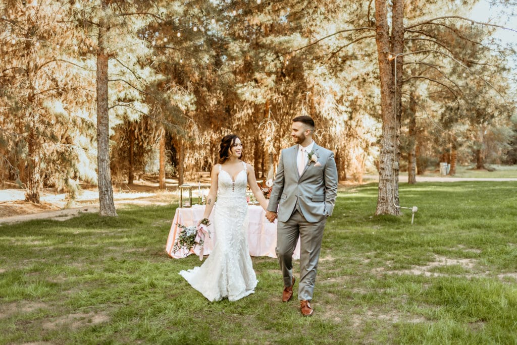 Bride and groom walk hand in hand during Schnepf Farms wedding