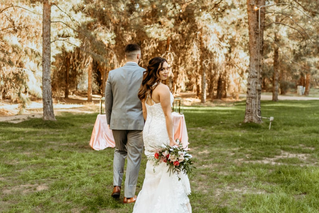 Groom leading bride through the meadow at Schnepf Farms