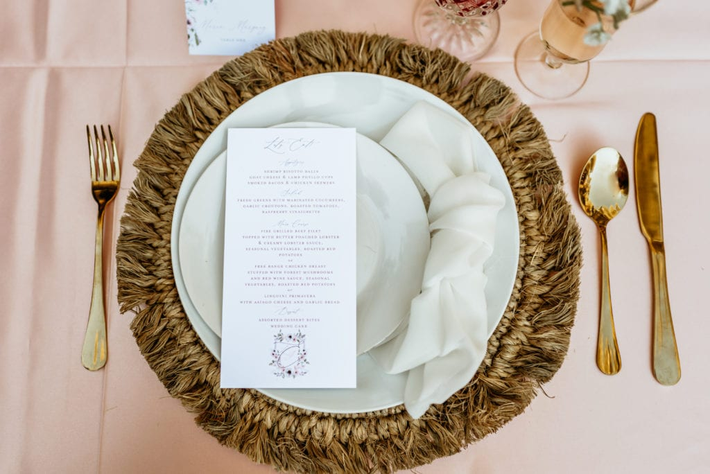 Dinner plate set up with gorgeous stationary