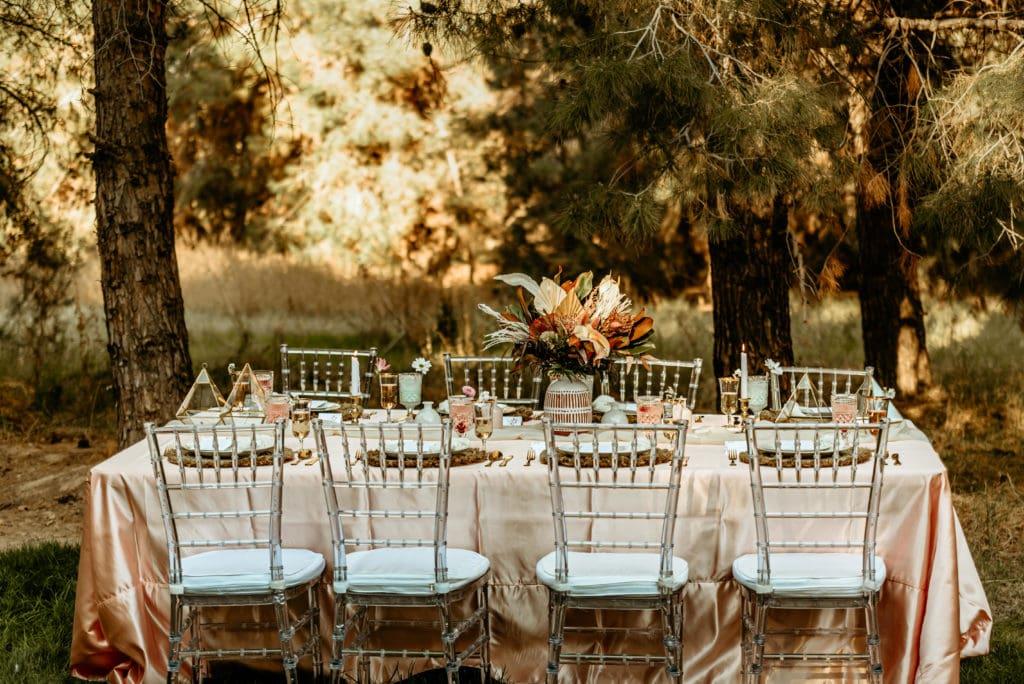 Reception set up at Schnepf Farms wedding venue in Queen Creek, Arizona