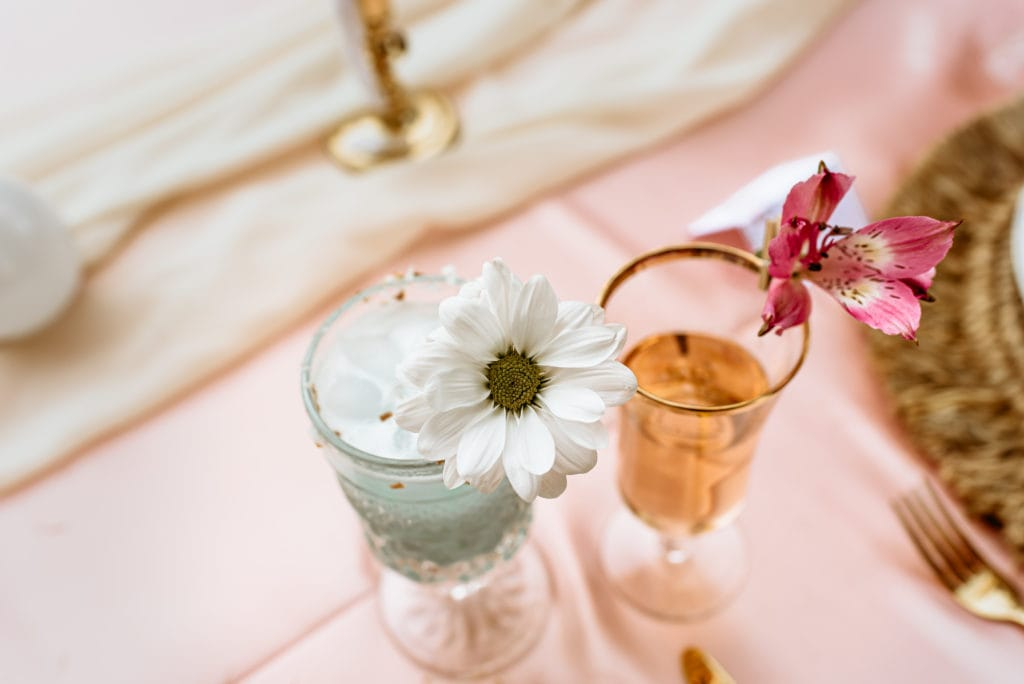 Signature drinks with a splash of flowers for decoration