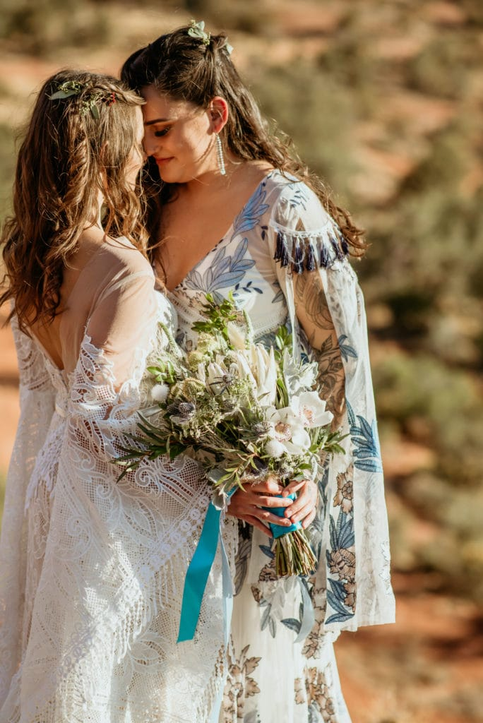 Gorgeous orchid bouquet during Baby Bell Rock elopement