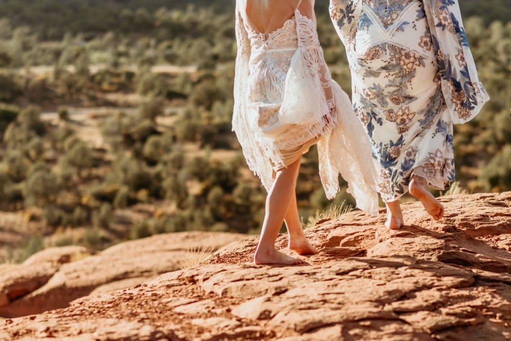 Barefoot brides on the Sedona red rocks