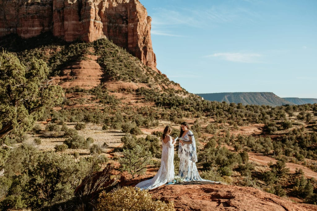 View of Courthouse Butte in Sedona during elopement