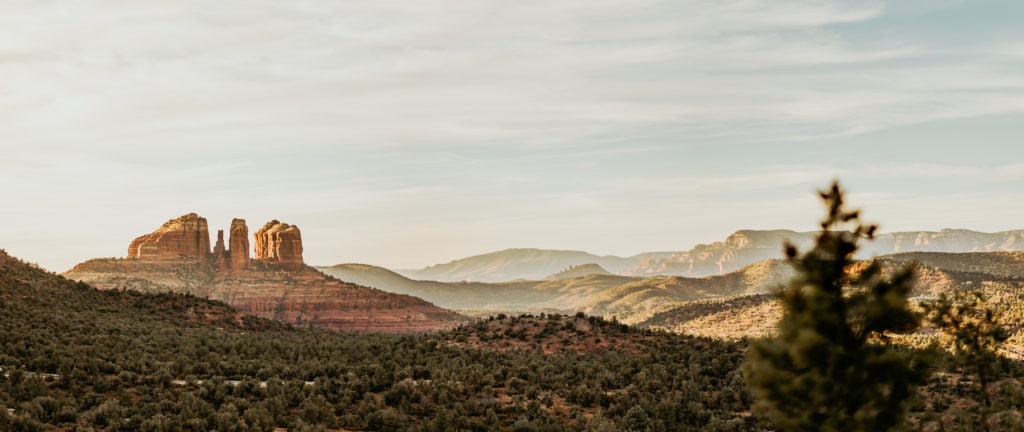 View of Cathedral Rock from an overlook off the Courthouse Vista trailhead in Sedona, AZ