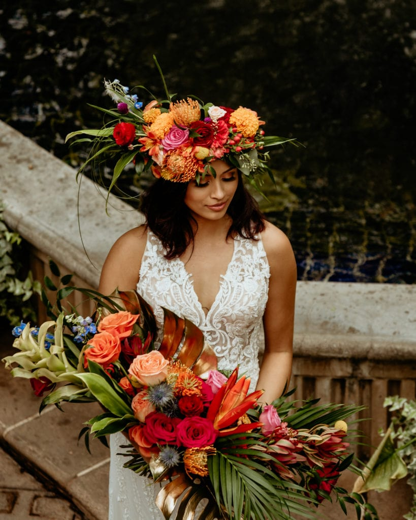 Bride's tropical goddess headdress and bouquet from above