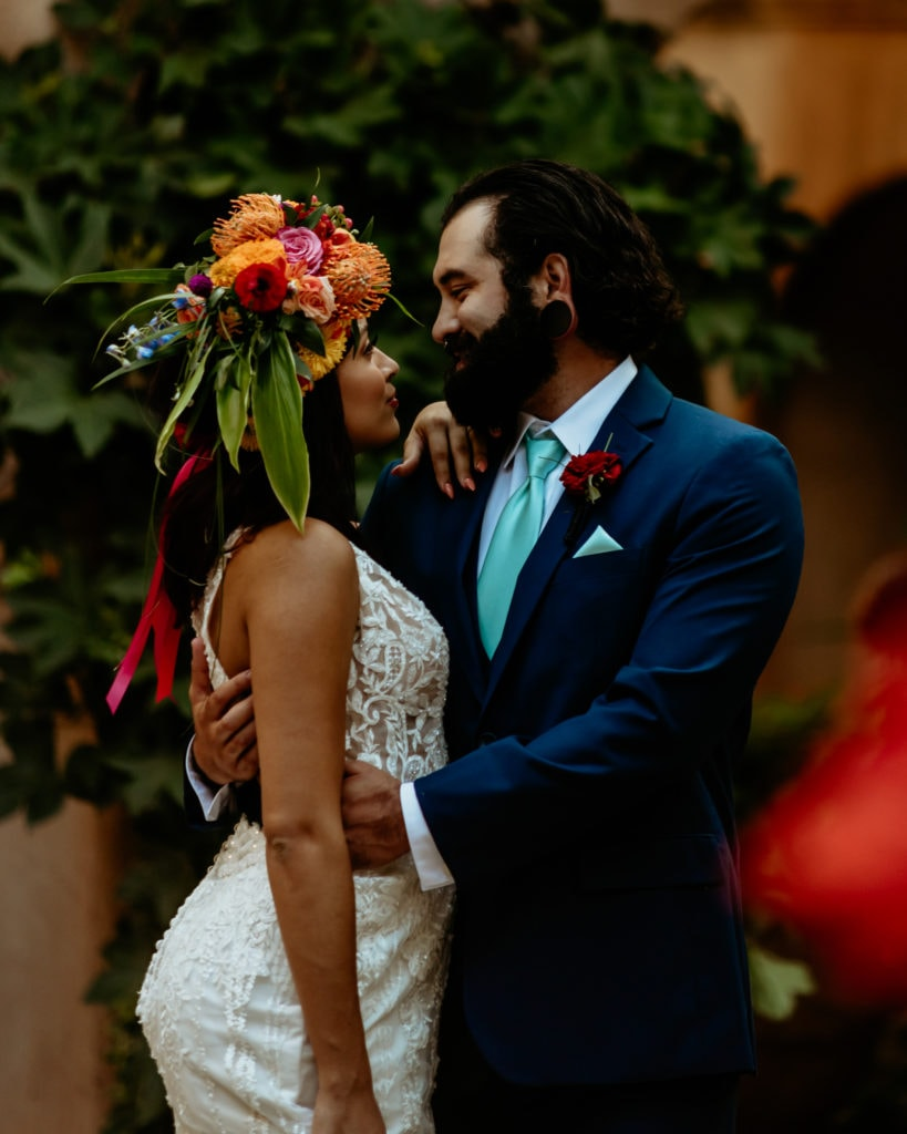 Bride and groom gazing into each others eyes during their Tlaquepaque Wedding