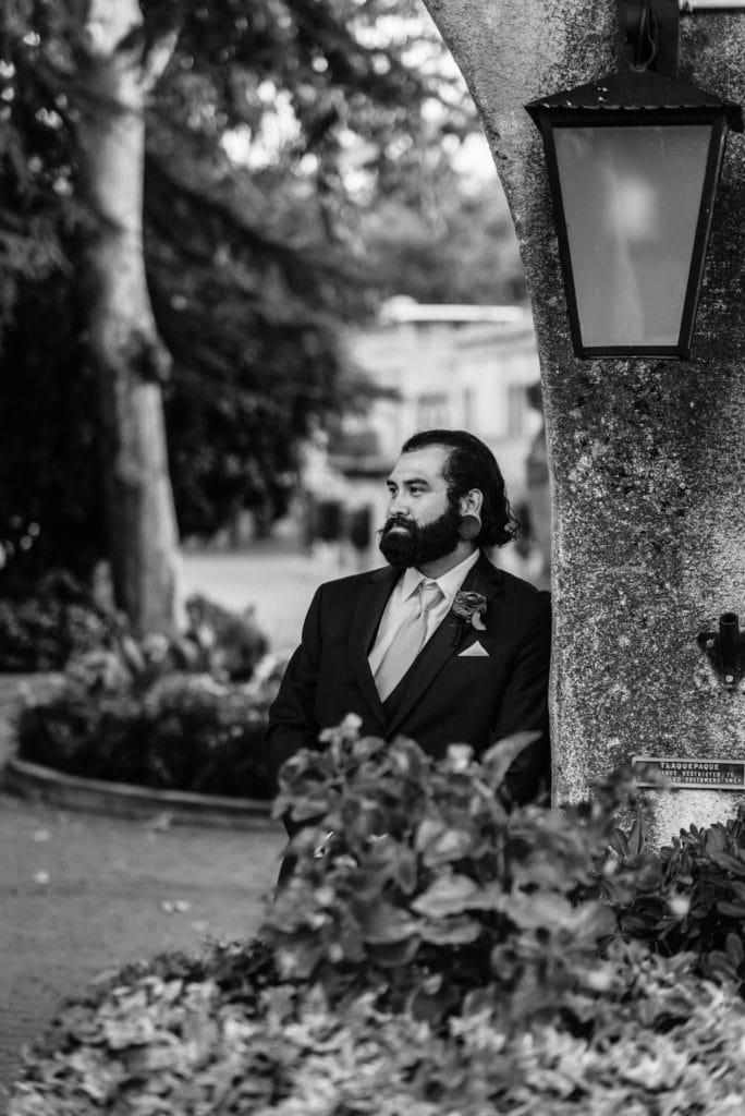 Groom staring out into the distance