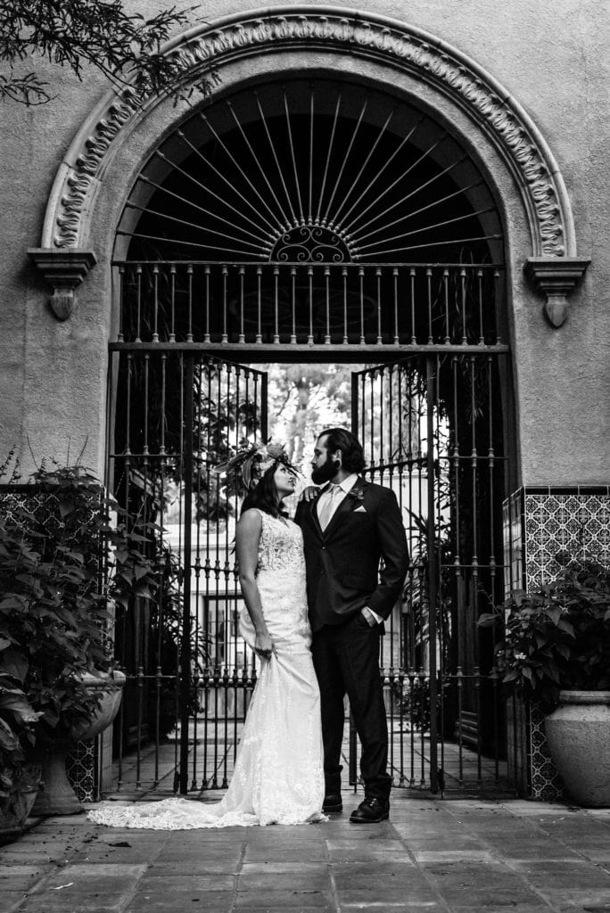 Black and white timeless bridal portrait at Tlaquepaque