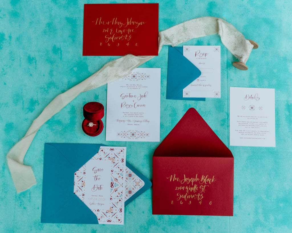 Blue and red details and invitation suite