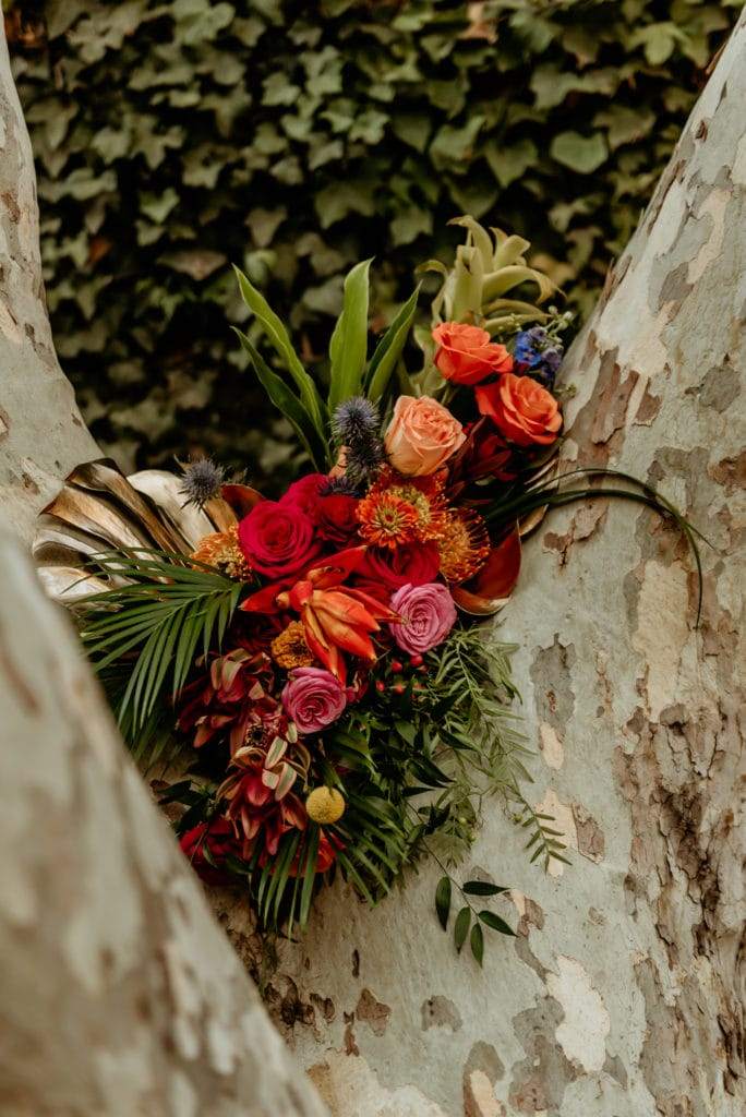 Vibrant bouquet in a tree
