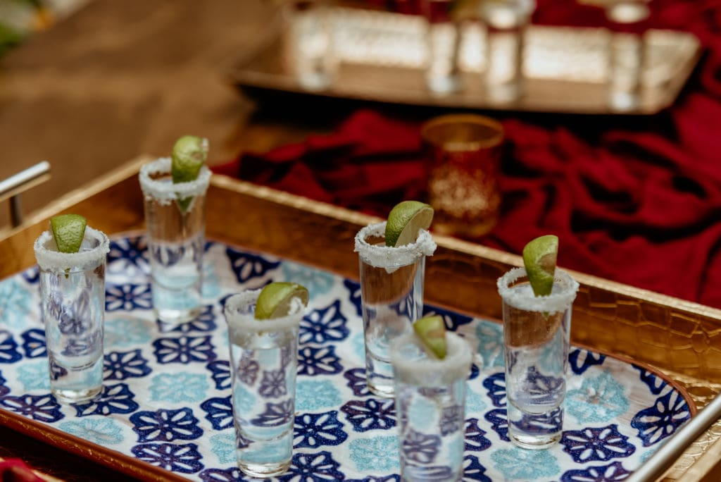 Tequila shots during the courtyard reception at Tlaquepaque Arts Center