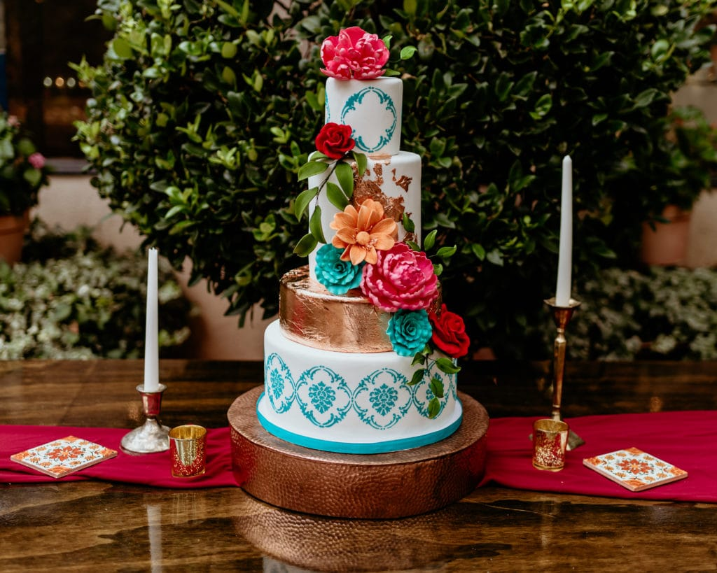 Vibrant 3 tiered wedding cake