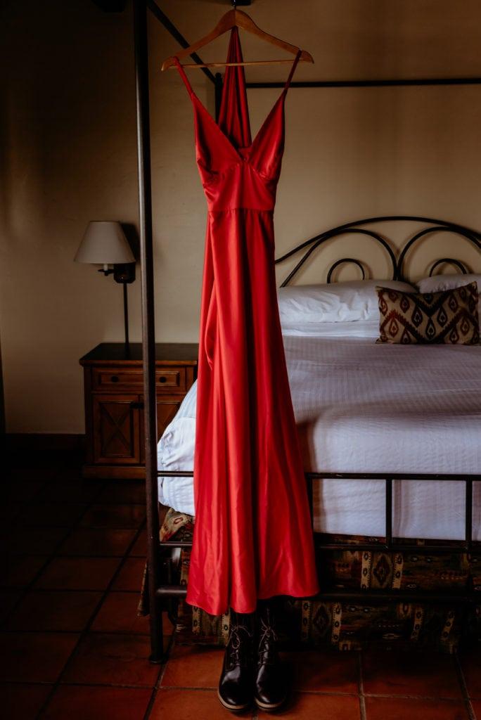 Satin red wedding dress