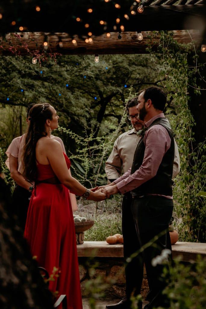 Wedding couple under vine lined arbor during their Tucson Desert Botanical Garden Intimate Wedding
